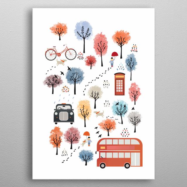 London flat landscape metal poster