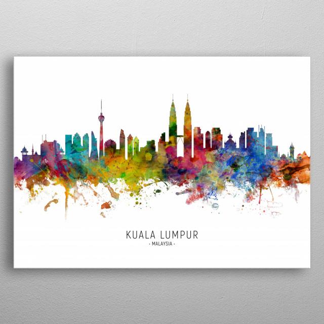 Watercolor art print of the skyline of Kuala Lumpur, Malaysia metal poster