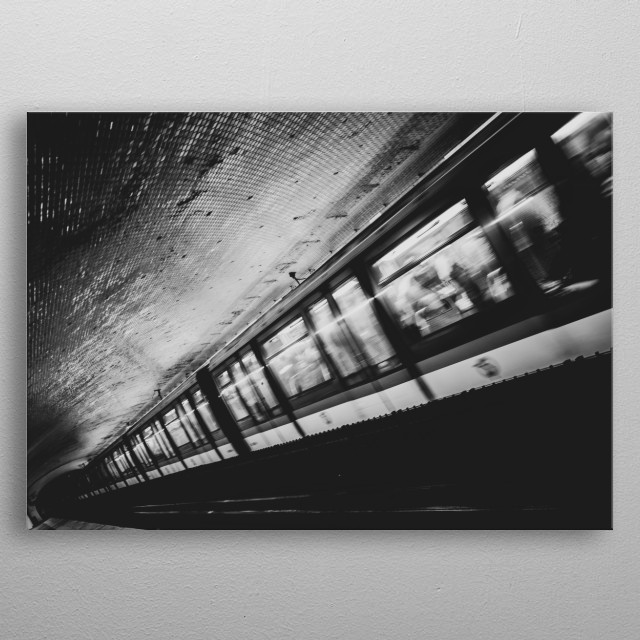 A metro train passing by Saint-Placide metro station. November, 2018. Paris - France. metal poster