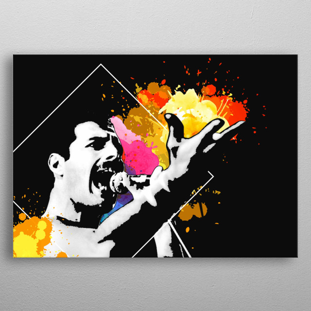 High contrast depiction of Mr. Mercury on a black background with bursts of color and a gleans of pop art style to it. metal poster