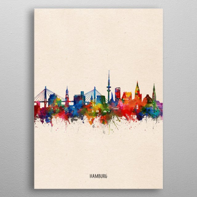 Hamburg skyline inspired by decorative,watercolor,colorful,pop art design metal poster
