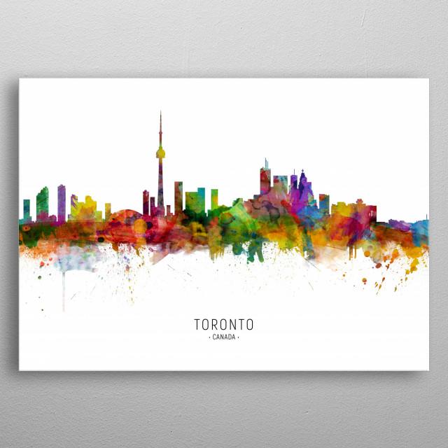 Watercolor art print of the skyline of Toronto, Canada metal poster