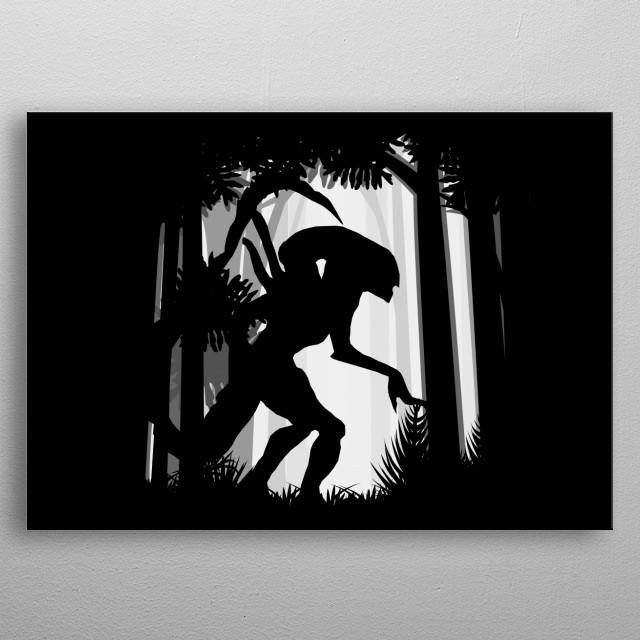 aliens ufo extraterrestrial space stars galaxy xenomorph  science fiction moon night universe cosmos abstract monster scary horror creature  metal poster