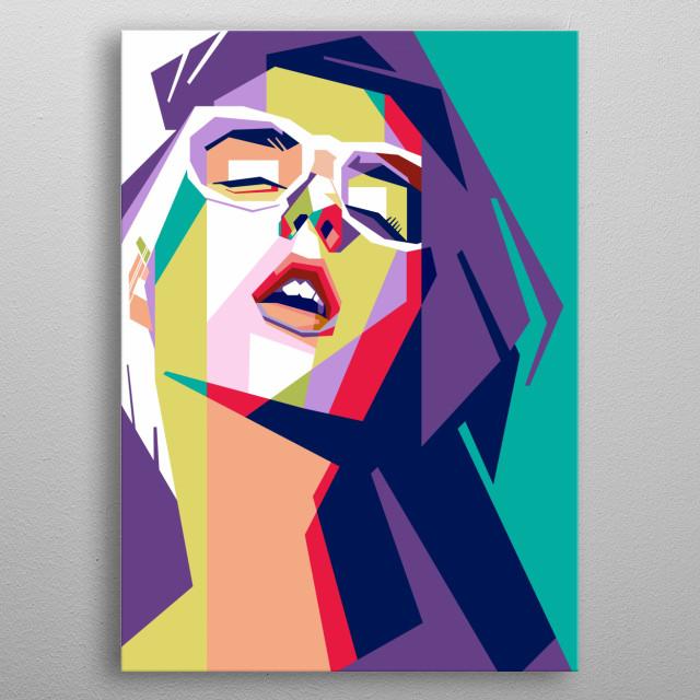 Beautiful girl in pop art portrait illustration  metal poster