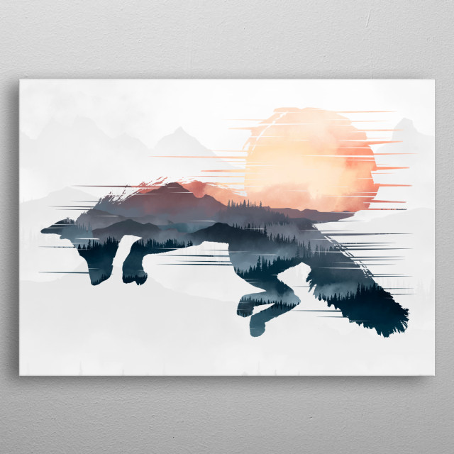 fox mountains wild outdoors animals camping forest siberia trees hiking nature mtb travel space stars natural dark moon metal poster