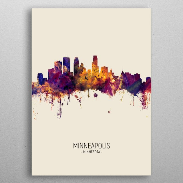 Watercolor art print of the skyline of Minneapolis, Minnesota, United States metal poster