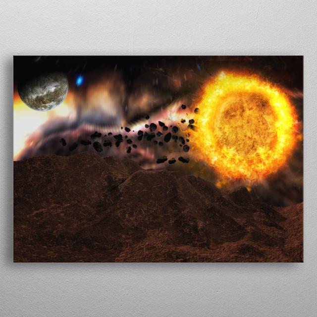 A spacescape near a sun metal poster