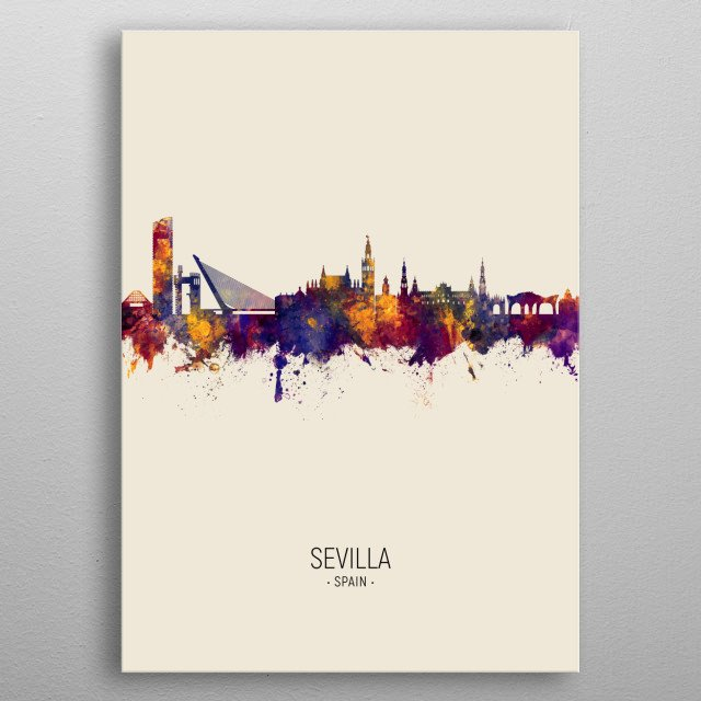 Watercolor art print of the skyline of Sevilla, Spain metal poster