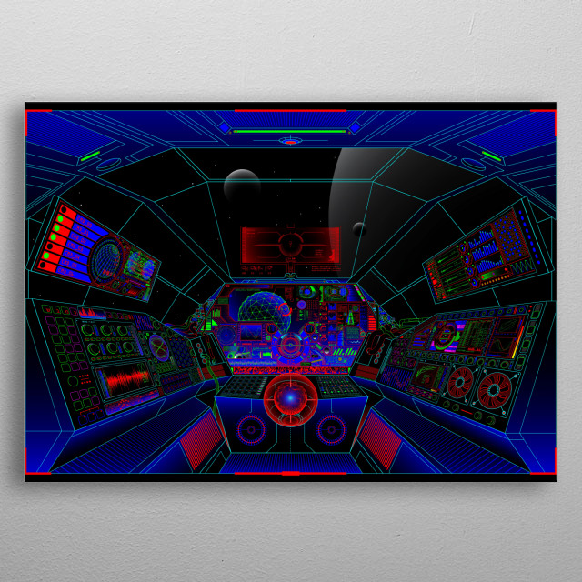 Illustration of a neon spaceship cockpit inspired by years of sci-fi films. metal poster