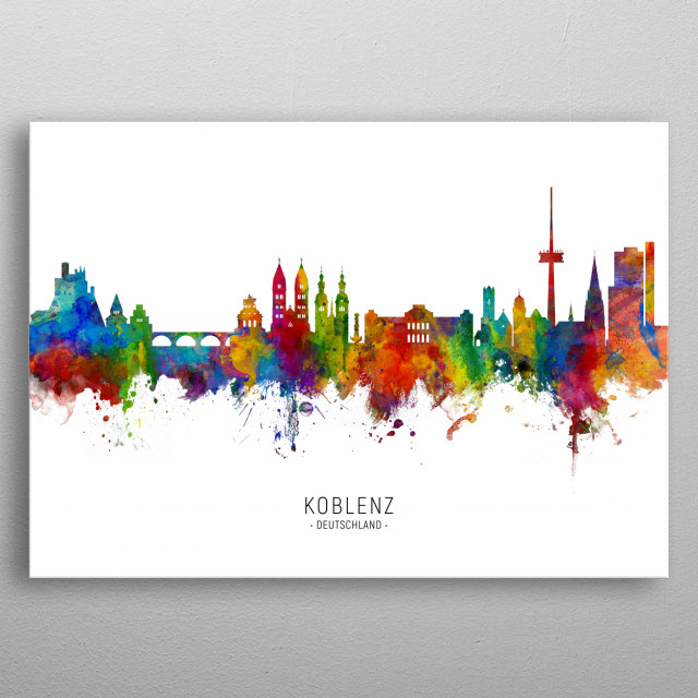 Watercolor art print of the skyline of Koblenz, Germany metal poster