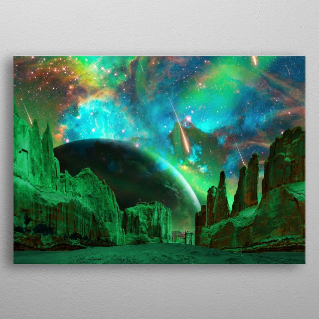 Photomontage of a colorful space landscape metal poster