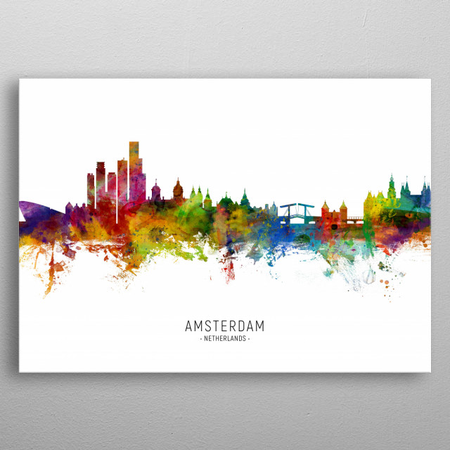 Watercolor art print of the skyline of Amsterdam, The Netherlands metal poster