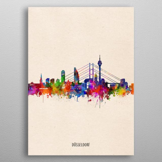 Dusseldorf skyline inspired by decorative,watercolor,colorful,pop art design metal poster