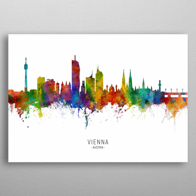 Watercolor art print of the skyline of Vienna, Austria metal poster