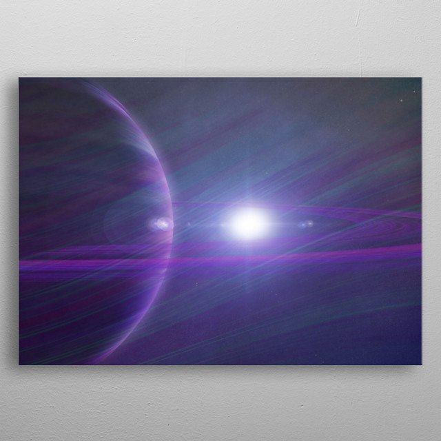 Each planet seems a world away from each other.  metal poster