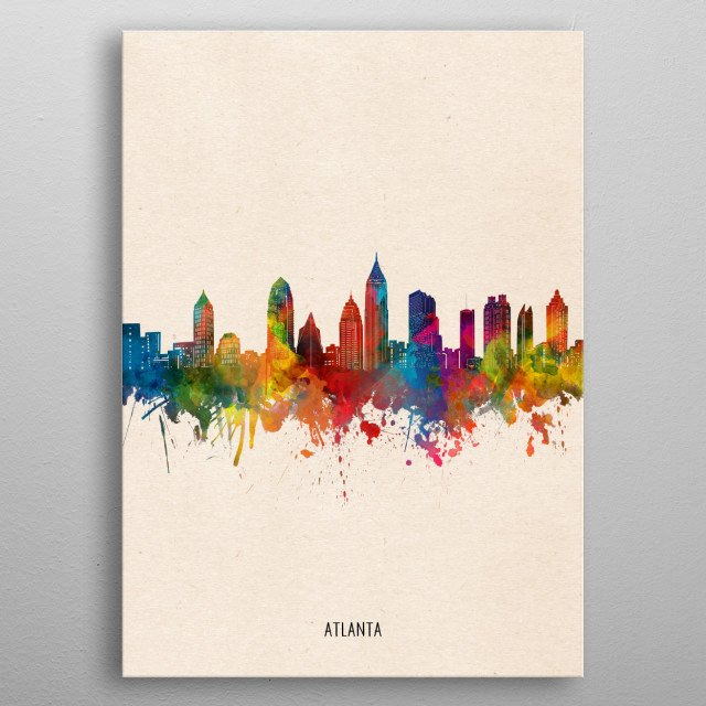 Atlanta skyline inspired by decorative,watercolor,colorful,pop art design metal poster