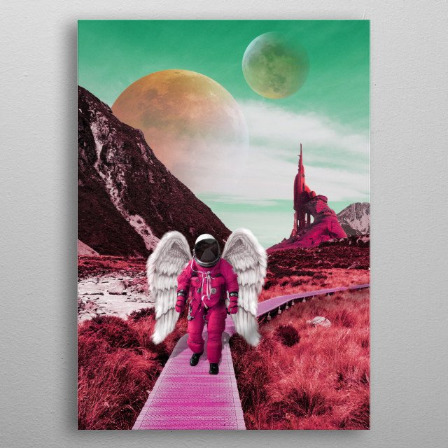 space angel at lonely planet metal poster