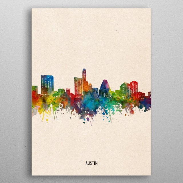 Austin skyline inspired by decorative,watercolor,colorful,pop art design metal poster