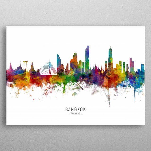 Watercolor art print of the skyline of Bangkok, Thailand metal poster