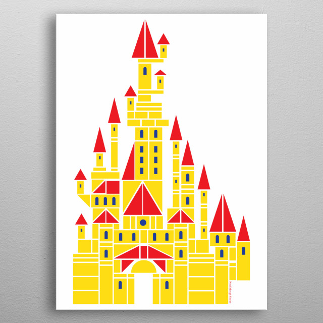 Sleeping Beauty's castle re-imagined with children's building blocks. metal poster