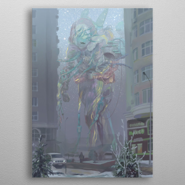 The visitor walks with a spaceship not on his own land. metal poster