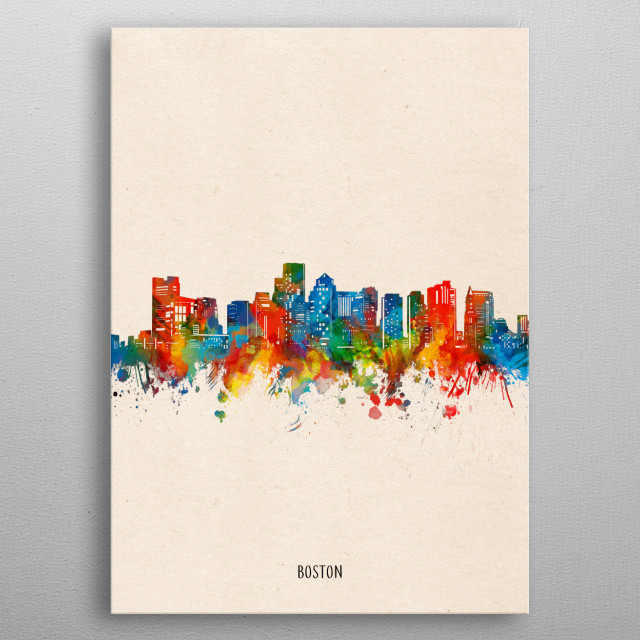 Boston skyline inspired by decorative,watercolor,colorful,pop art design metal poster