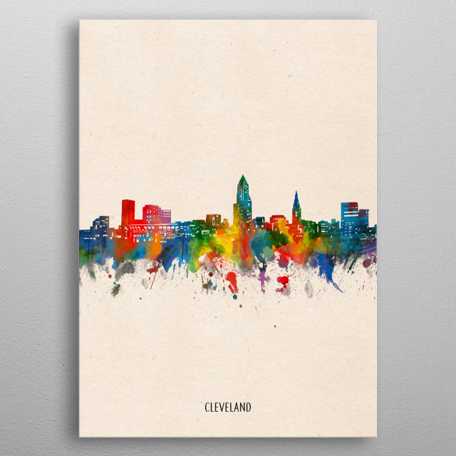 Cleveland skyline inspired by decorative,watercolor,colorful,pop art design metal poster