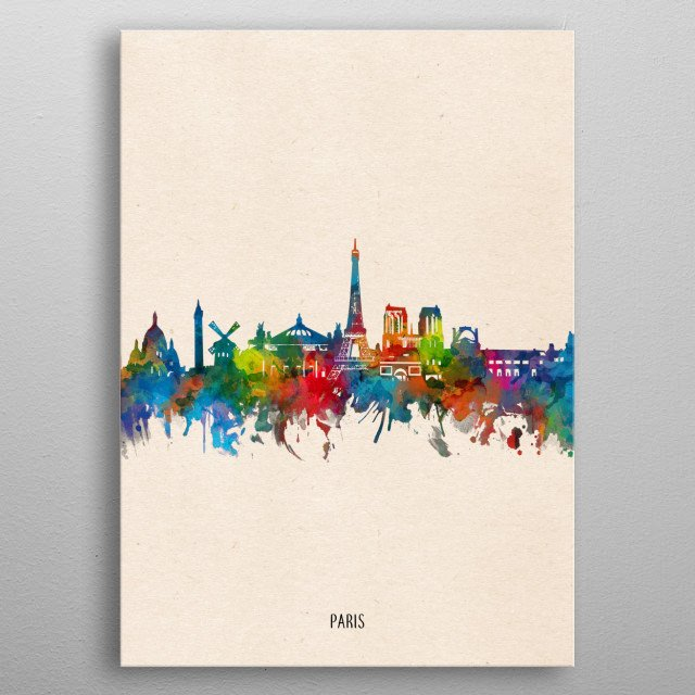 Paris skyline inspired by decorative,watercolor,colorful,vintage,pop art design metal poster