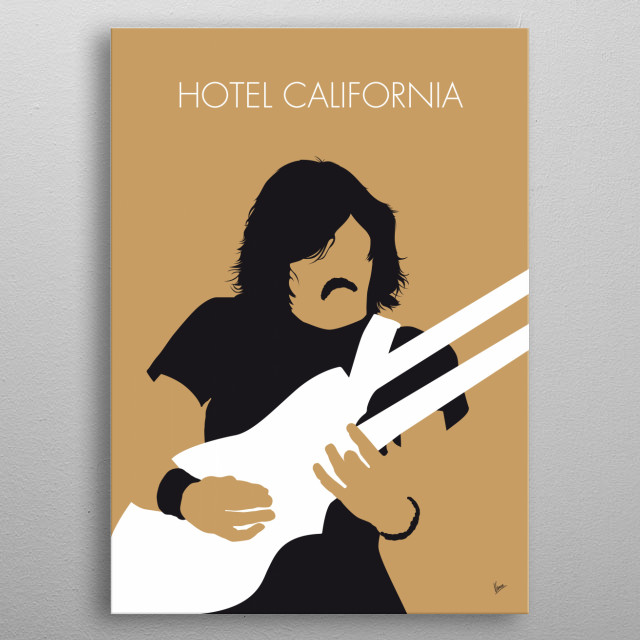 """""""Hotel California"""" is the title track from the Eagles' album of the same name and was released as a single in February 1977. Writing credits metal poster"""