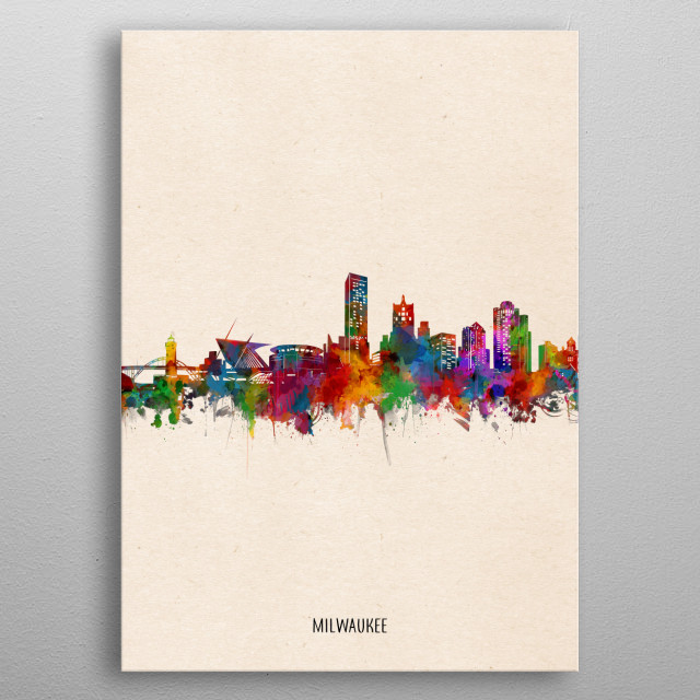 Milwaukee skyline inspired by decorative,watercolor,colorful,vintage,pop art design metal poster