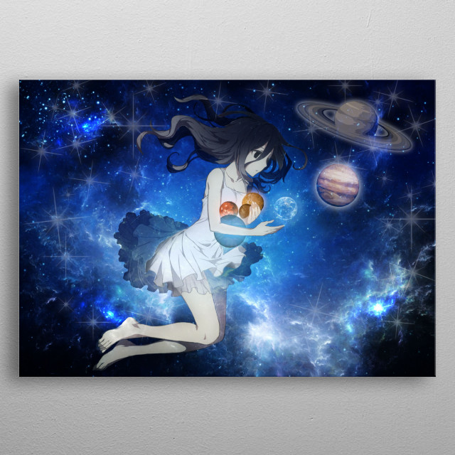 Illustration of the Mother of the Universe that collects planets metal poster