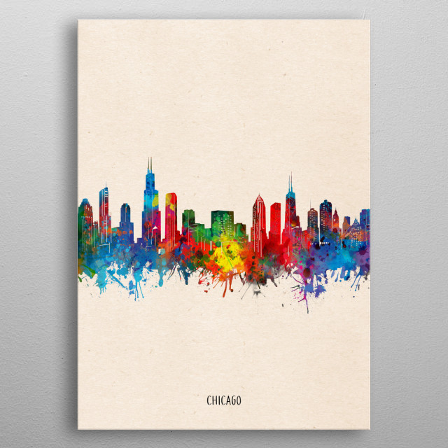 Chicago skyline inspired by decorative,watercolor,colorful,pop art design metal poster