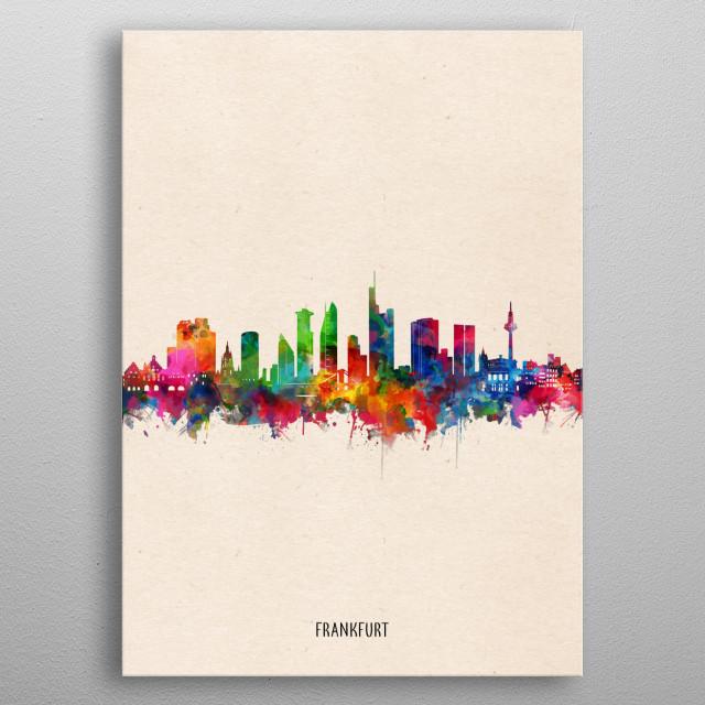 Frankfurt skyline inspired by decorative,watercolor,colorful,pop art design metal poster