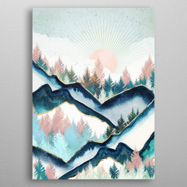 Abstract landscape of a winter forest with blue, aqua, pink and gold metal poster