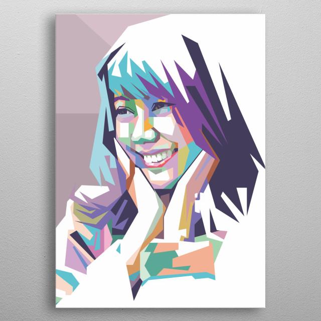 Yona in pop art portrait illustration metal poster