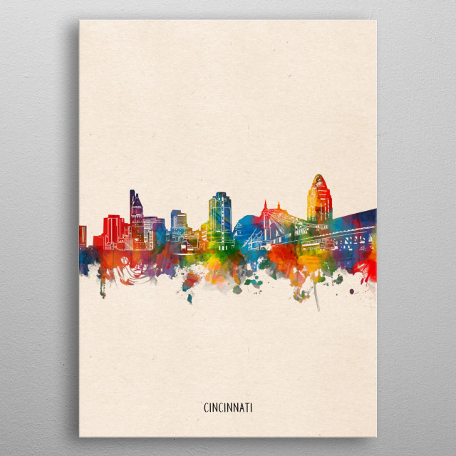 Cincinnati skyline inspired by decorative,watercolor,colorful,pop art design metal poster