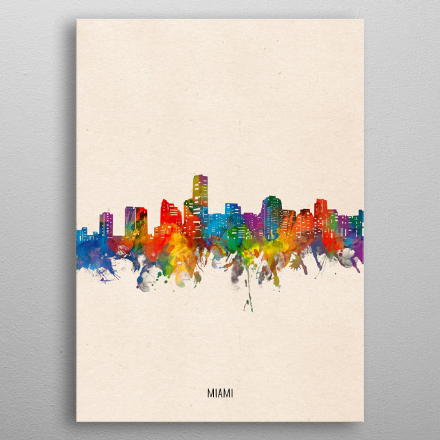 Miami skyline inspired by decorative,watercolor,colorful,vintage,pop art design metal poster