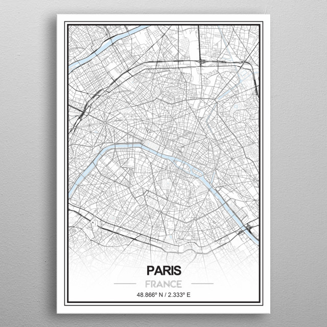 Paris, city of love in a black and white with a pale blue for water representation, perfect for a minimalistic deco to your home metal poster