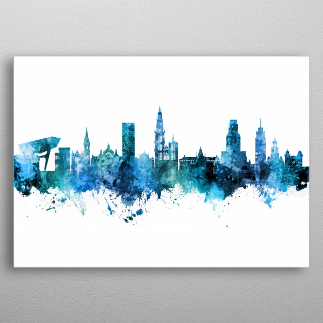 Watercolor art print of the skyline of Antwerp, Belgium metal poster