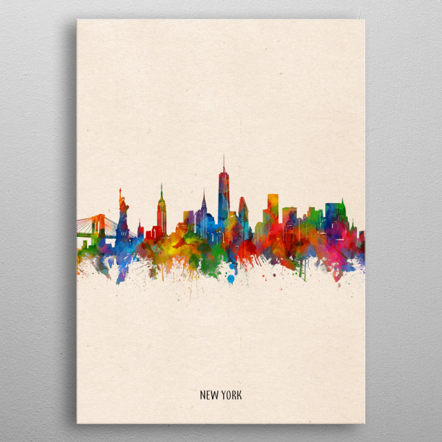 New York skyline inspired by decorative,watercolor,colorful,vintage,pop art design metal poster