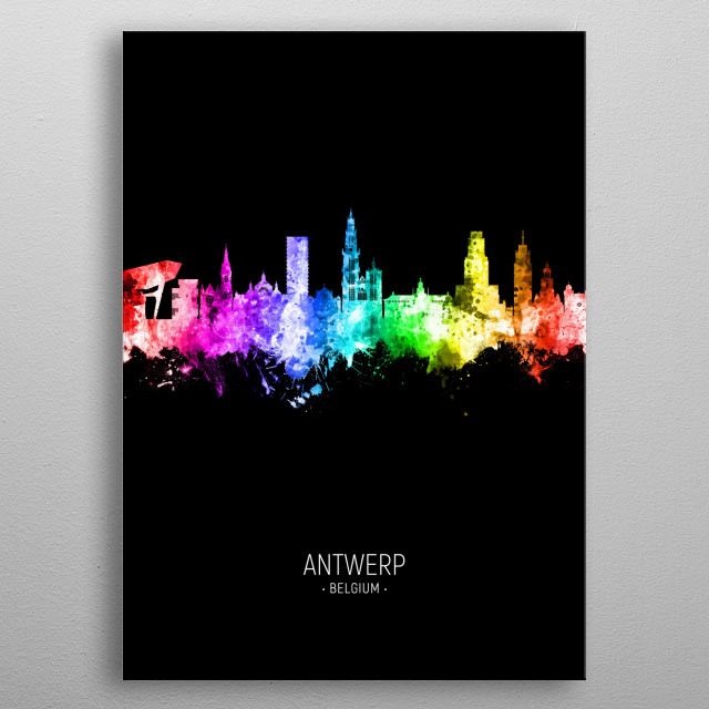 Watercolor art print of the skyline of Antwerp, Belgium metal poster