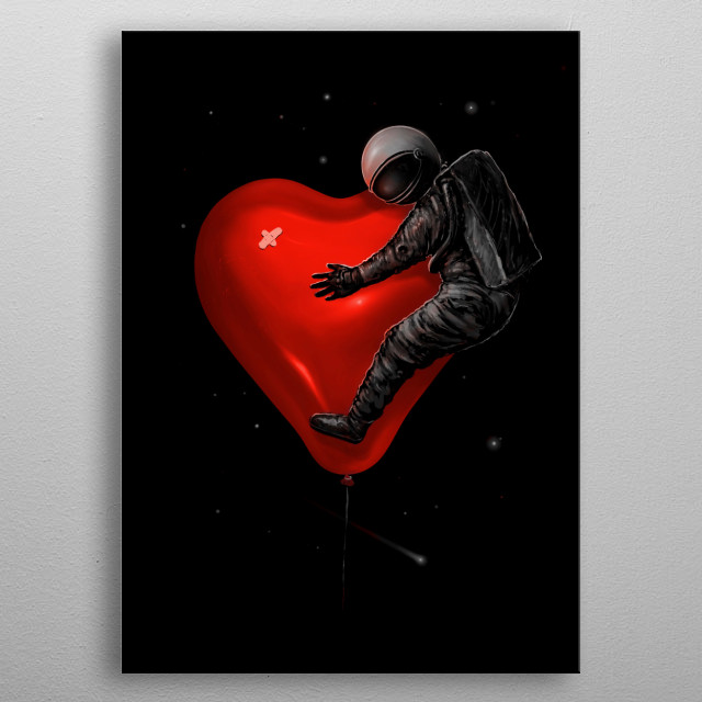 Astronaut riding and hugging a heart balloon. metal poster