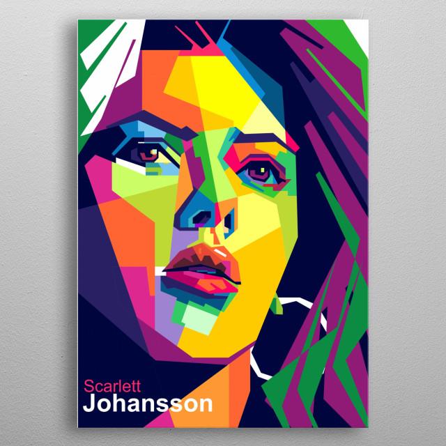Scarlett johansson in color pop art portrait  metal poster