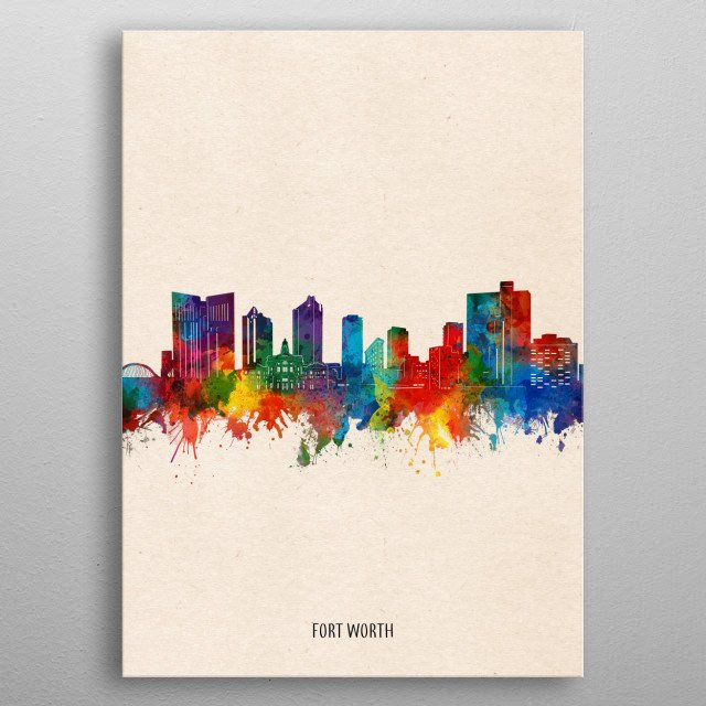 Fort Worth skyline inspired by decorative,watercolor,colorful,pop art design metal poster