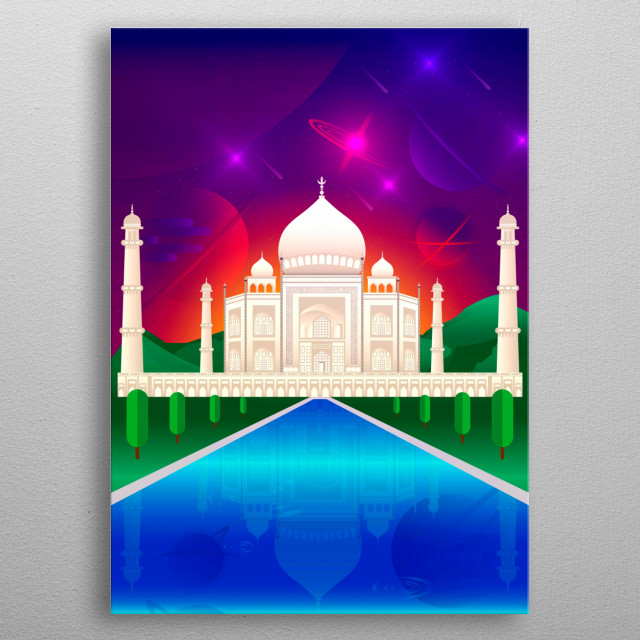 Digital illustration of the Taj Mahal with a clear view of a cosmic sky. metal poster