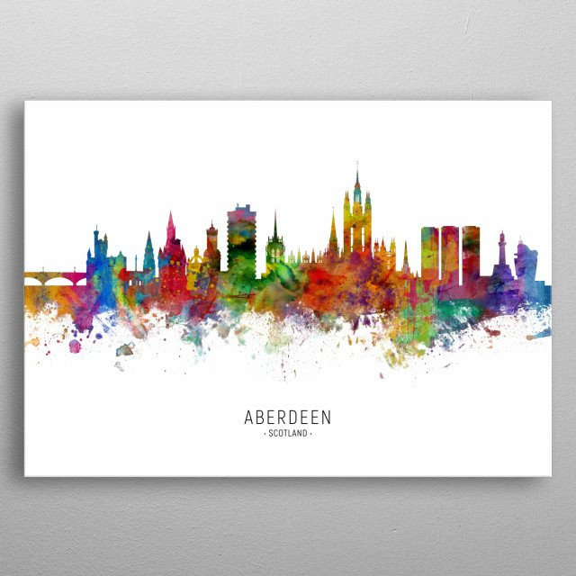Watercolor art print of the skyline of Aberdeen, Scotland, United Kingdom metal poster
