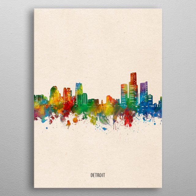 Detroit skyline inspired by decorative,watercolor,colorful,pop art design metal poster