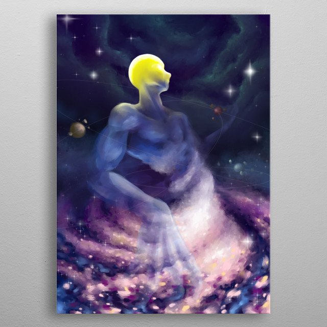 The illustration shows the birth of the sun in space, light born in emptiness. metal poster