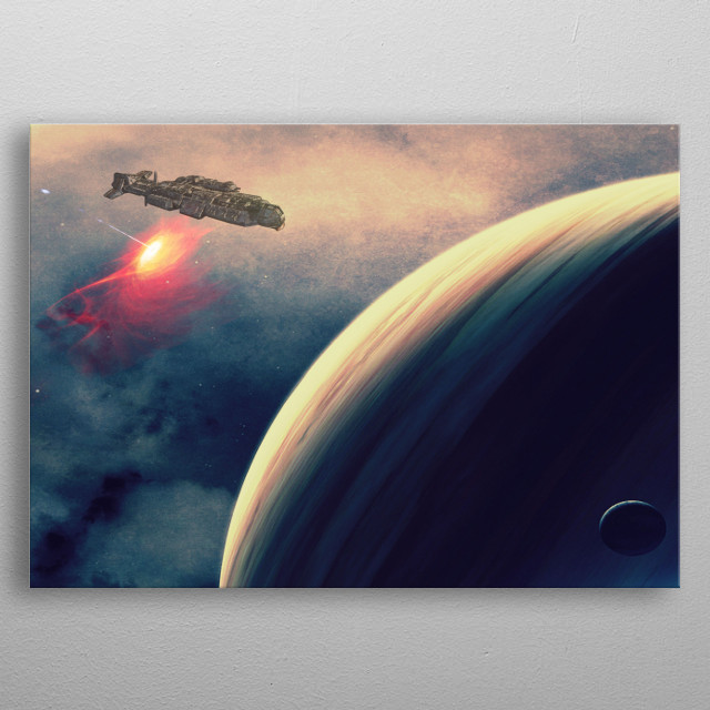 After what seemed like months of travelling, the first planet was sighted out in the distance giving them hope.  metal poster