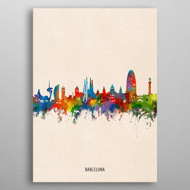 Barcelona skyline inspired by decorative,watercolor,colorful,pop art design metal poster